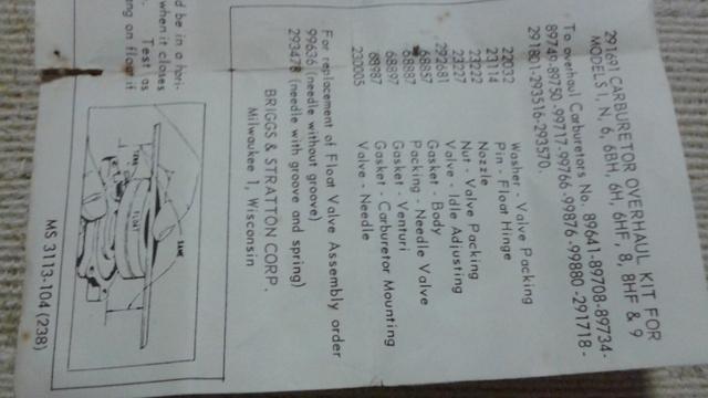 briggs and stratton carburetor kits diagrams
